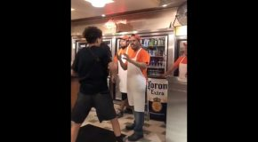 Kid Tries to Fight a Grown Man in the Pizza Shop