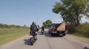 Motorcyclist Goes Head To Head Against Hillbilly