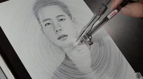 Guy Draws Amazing Portrait With A Compass And A Pen!