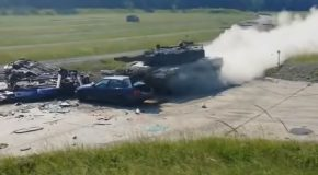 High Speed Impact Of A Tank On A Car!