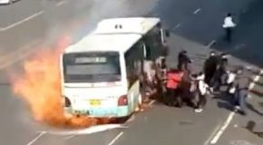 Bus Catches On Fire In China, Passengers Jump Out In Terror!