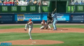 José Alvaraz Gets Hit By A Ball Coming At 105mph On His Balls!
