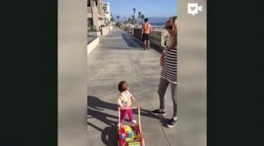 Cute! Toddler Checks Out A Hot Shirtless Guy!