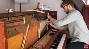 Guy Puts On Guitar Strings On A Piano!