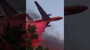 Low-Pass Fire Fighting Plane Flying During Talent Oregon Fire