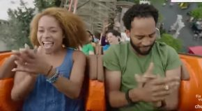 Commercial Actor Who's Scared Of Rollercoasters Takes It Like A Boss!