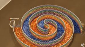 Making An Amazing Triple Spiral With 15,000 Dominoes!