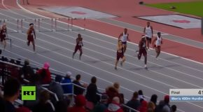 """Superman Dive"" At The End Of A 400m Hurdle Gives Athlete An Amazing Victory!"