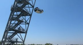 Car Gets Dropped On The World's Strongest Trampoline!