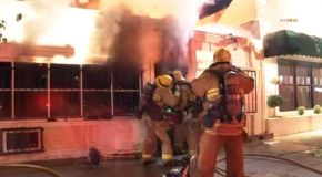 Firefighter Catches On Fire While Battling A Structure Fire Sherman Oaks, California