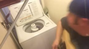 Guy Covers ACDC's Thunderstuck On A Broken Washing Machine!
