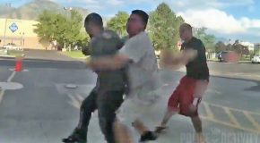 Random Good Guy Body Slams Suspect After He Tried To Attack The Cop!