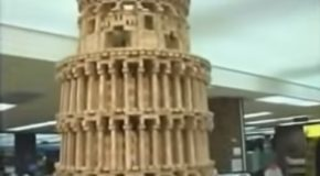Clumsy Reporter Destroys Leaning Tower Of Pisa Made Of Jenga Blocks