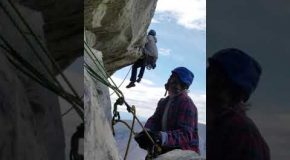 Rock Climber Almost Defies Gravity, Almost!