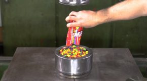 Will A Hydraulic Press Turn Skittles Candies Into A Hard Rock?