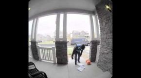 Amazon Delivery Guy Falls On The Same Set Of Stairs Twice!