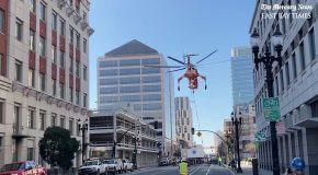 Helicopter Accidentally Ends Up Dropping An AC Unit On The Street!