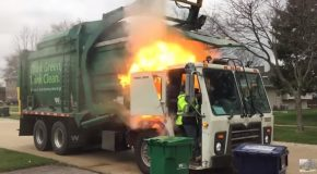 Garbage Truck Bursts Into A Ball Of Fire
