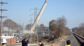 Chimney Being Destroyed Falls The Wrong Way!