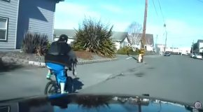 Stupid Guy On A Bicycle Tries To Outrun The Cops, Gets Hit By Another Car!