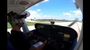 Pilot Lands And Crashes Right Into The Hangar!