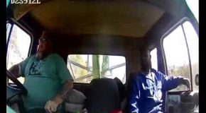 Truck Passenger Jumps Out Of The Window Right Before The Crash!