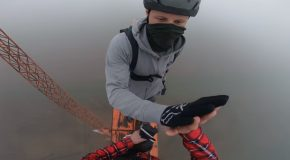 Executing A 50meter BASE Jump From A Steampunk Wind Turbine!
