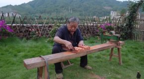 Amazingly Skilled Carpenter Makes A Foldable Stool From A Single Wood Piece!