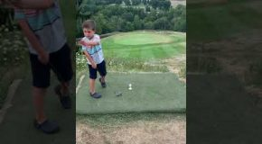 """4-Year-Old's Amazing """"Hole In One"""" Golf Shot!"""