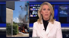 Man On A Burning Boom Lift Jumps Off At The Right Time!