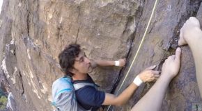 Man Gets Out-Climbed By Free Solo Rock Climber!