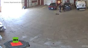 Guy Manages To Escape Prison Right As Garage Door Closes!