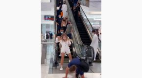People On An Escalator Fall For The Invisible Rope Prank!
